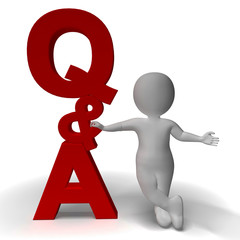 Question and Answer Q&A Sign And 3d Character As Symbol For Supp
