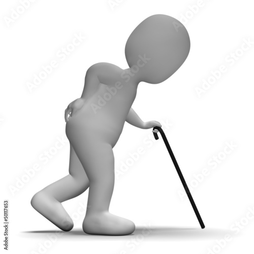 Old Man With Walking Stick Showing Aged 3d Character