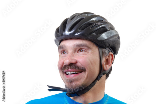 Adult in bicycle helmet