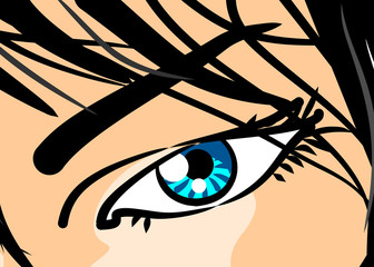 Eye of woman in close-up - Comic