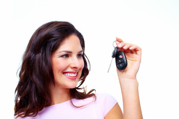 Woman with a car keys.