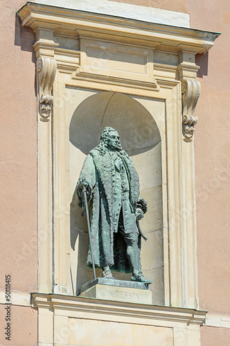 statue in alcove on royal palace, Stockholm, Sweden