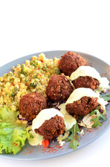 Meatballs and couscous