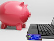 Piggy At Computer Shows Banking On Laptop