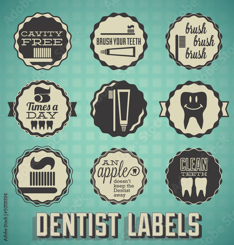 Vector Set: Dentist and Teeth Brushing Labels