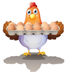 A hen holding a tray of eggs