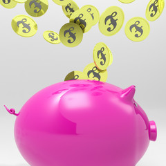 Coins Entering Piggybank Showing England Deposits