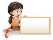 A little girl holding a blank signboard