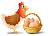 The mother hen and a basket of eggs
