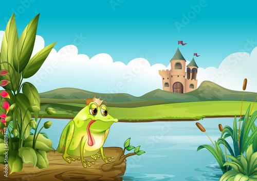 Papiers peints Chateau A frog above a floating trunk across the castle