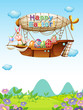 Bunnies with eggs riding in an airship