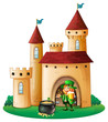 A castle with an old man and a pot of coin