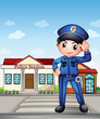 A police officer in front of a police station