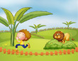 A boy running followed by the lion