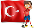 A soccer player in front of a Turkish flag