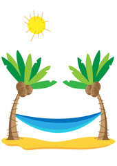 Coconut trees and hammock - vector
