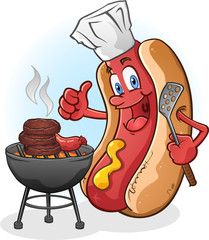 Hot Dog Character Grilling Burgers