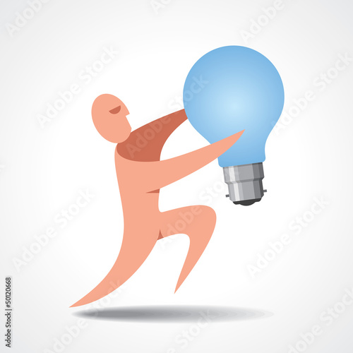 A man holding a light bulb. Its quite large compared to him