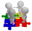 Puzzle Solved And 3d Characters Showing Unity And Teamwork