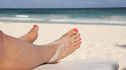 Beach feet. Tulum, Mexico.