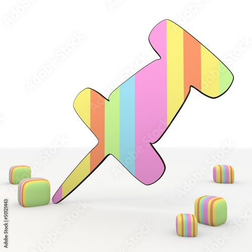 Coltish colorful friendly funny pin 3d icon