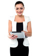 Business executive browsing on tablet device
