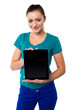 Cute model showing newly launched tablet pc