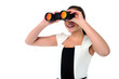 Lady looking through the binocular