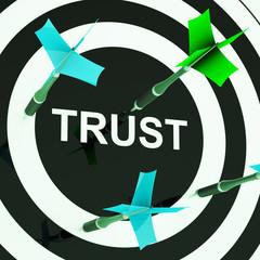 Trust On Dartboard Showing Mistrust