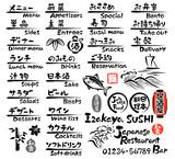 Fototapety 和食のメニュー(英語と日本語)