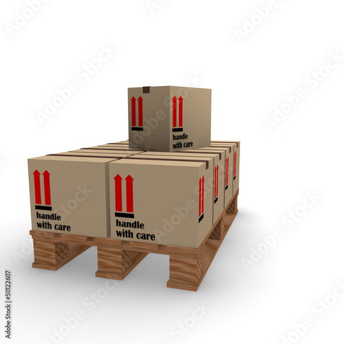 Cardboard boxes on a pallet