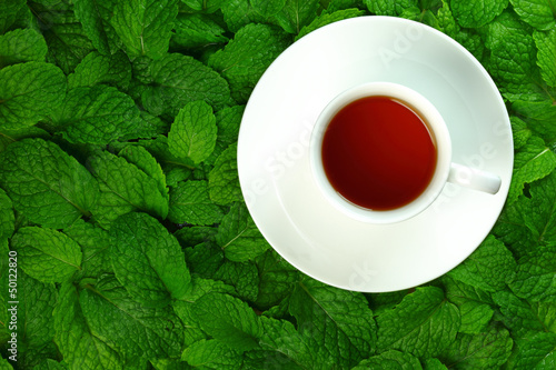 Tea and mint leaves.