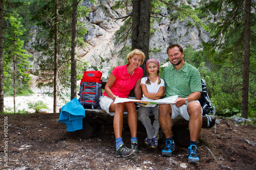 Family on hike - Dolomites - Italy