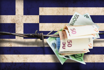 European financial crisis. Money on barbed wire