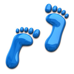 Blue footprints isolated on white background