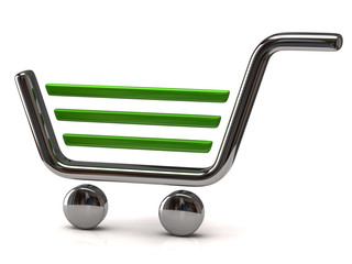 Green and silver shopping cart icon on white background