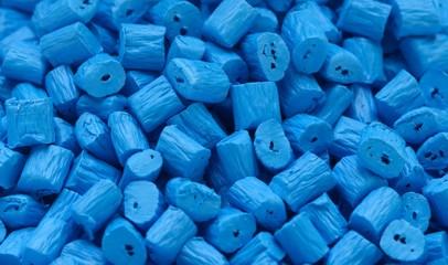 Masterbatch Kunststoffgranulat Blau Closeup