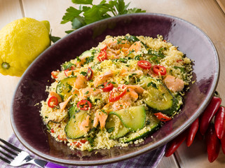 couscous with fresh salmon zucchinis and hot chili pepper
