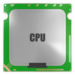Modern CPU - Central Processing Unit isolated on white