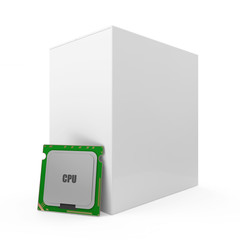 Modern CPU - Central Processing Unit with Blank Box