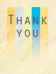 Thank you word on colorful textured paper