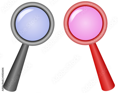 two magnifying glass icons