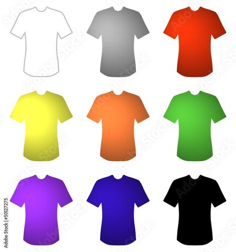 9 farbige T-Shirts