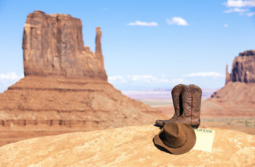 boots and hat in Monument Valley