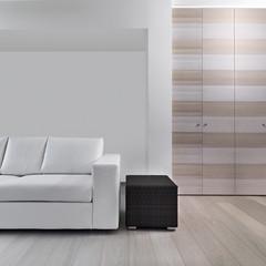 dettaglio di divano pelle nel soggiorno moderno