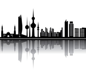 kuwait skyline with tower mosk and other buildings