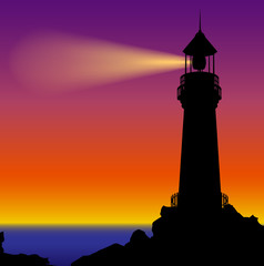 Lighthouse silhouette in sunset