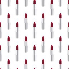 Red lipstick seamless over white background