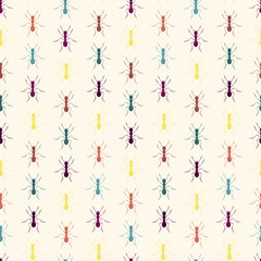Colourful ants seamless pattern