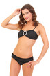 beautiful brunette woman in black swimsuit bikini